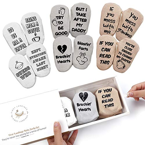 First Landings Baby Socks Set | Adorable Quotes, 6 Pairs and Gift Packaging | Best Gender Neutral Baby Gifts | Funny Baby Shower Gift for Boys or Girls (Best Baby Shower Registry)