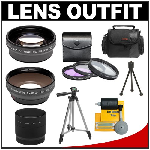 2x Telephoto and .45x Wide Angle Lens Kit for Canon PowerSho