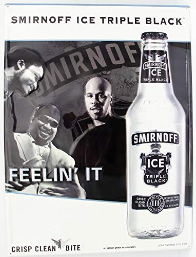 - Smirnoff Ice Triple Black Metal Sign Bottle Feeling It Crisp Clean bite Premium Malt Beverage