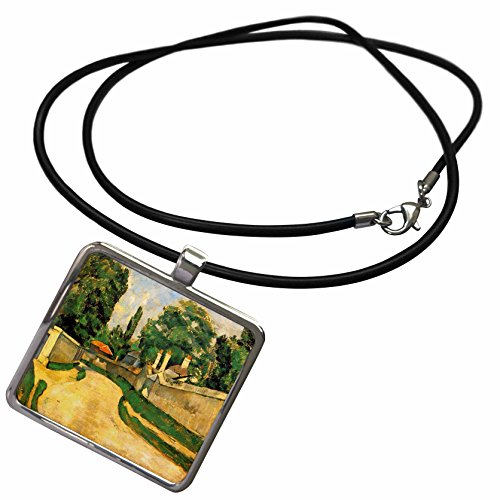 3dRose Florene - Post Impressionism - Image of Cezanne Painting Bord Route Landscape - Necklace with Rectangle Pendant (ncl_174685_1)