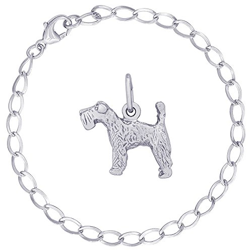 Dog Blue Kerry Terrier Charm (Rembrandt Charms Sterling Silver Kerry Blue Terrier Charm on a Curb Link Bracelet, 7