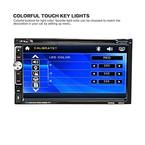Car DVD CD Player 7 2 DIN Bluetooth Touch Screen Radio Audio USB iPod SD FM/AM, Ruhiku GW (Car Displays & Video Player Dvd)