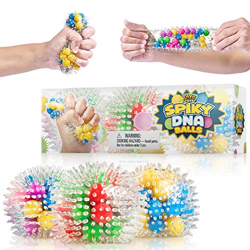 (YoYa Toys Spiky DNA LED Ball [3-Pack] | Stimulating & Calming Sensory Squishy Balls for Kids & Adults | Spike Squishies for Autism, Fidgeting, ADHD & Quitting Bad Habits | Non-Toxic Rubber)