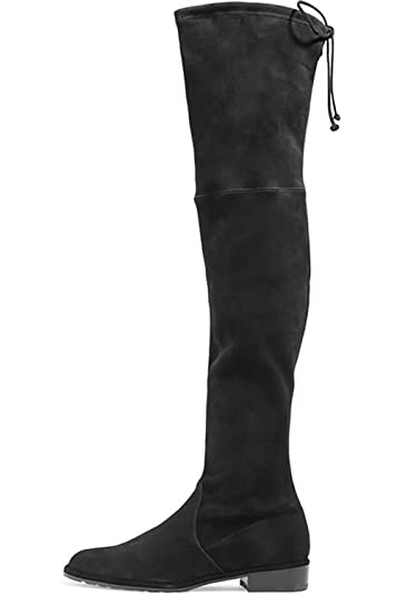 650394943f7 Kmeioo Knee High Boots, Women's Stretch Suede Over The Knee Boots Round Toe  Flat Heel Tall Boots