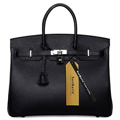 Sanmario Designer Handbag Top Handle Padlock Womens Leather Bag With Silver Hardware Black 35Cm 14