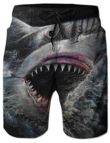 Idgreatim Mens Funny Swim Trunks Quick Dry Summer Swimming Shorts for Beach 3D Smoke Skull Graphic Bathing Suit with Pocekts XL ()