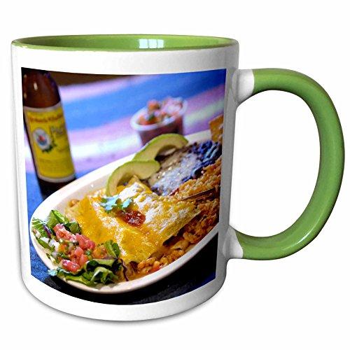3dRose Danita Delimont - Cuisines - Shrimp Enchilada, Mexican cuisine Destin, Florida - US10 FVI0006 - Franklin Viola - 11oz Two-Tone Green Mug - Destin Outlet Florida