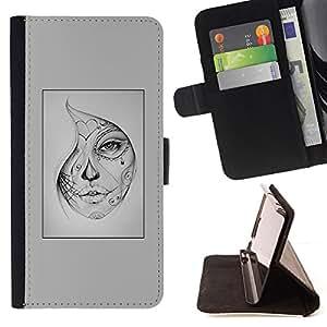 BullDog Case - FOR/HTC One M9 / - / woman mysterious Halloween tattoo /- Monedero de cuero de la PU Llevar cubierta de la caja con el ID Credit Card Slots Flip funda de cuer