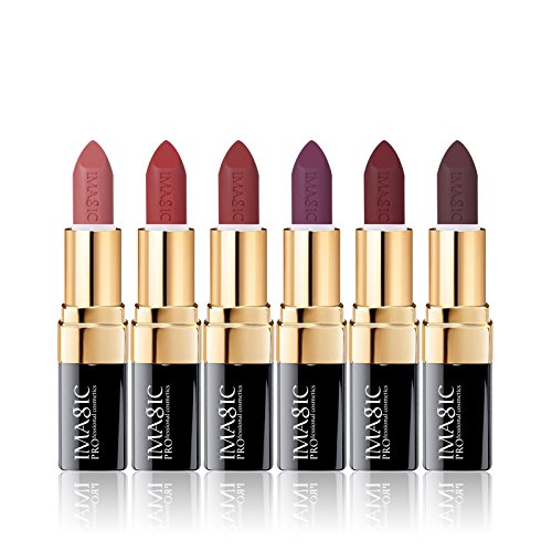CCbeauty 6 Colors Lipsticks Set Matte for Girls Women Waterproof Long-Lasting Moisturizing Makeup Lipsticks,Nude and Natural Color Dark, 0.12oz/3.5g