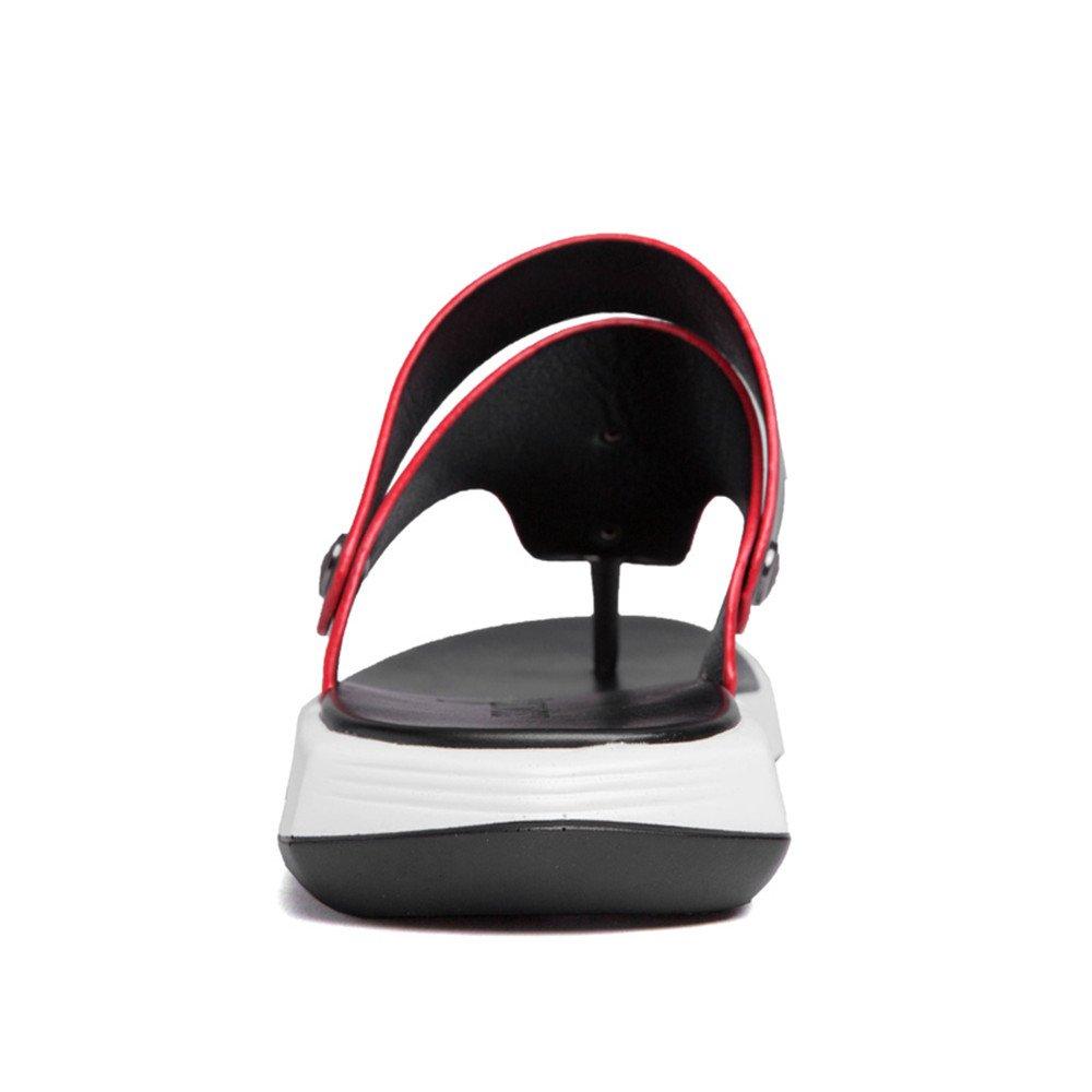 Xujw--schuhe Heren Sandalen, Männer Casual Thong Flip Flops Schuhe Hausschuhe aus echtem Leder Strand Hausschuhe Schuhe rutschfeste weiche flache Summber leichte Sandalen (Farbe : Schwarz, Größe : 43 EU) Schwarz c87ec6