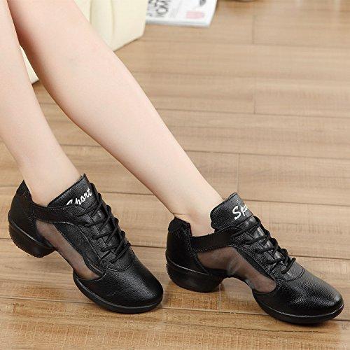 SQIAO-X- Scarpe da ballo Kraft fascetta in gomma antiusura traspirante imbottitura, Square Dance Dance Latina Professional scarpe da ballo, nero filato netto,36