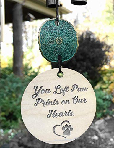 Memorial Pet Loss Paw Prints on Our Hearts in Memory of Loss of Dog or Cat Memorial Garden or Porch Remembering Animal After Loss Outdoor Rustic