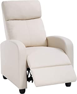 Recliner Chair for Living Room Home Theater Seating Single Reclining Sofa Lounge with Padded Seat Backrest (Beige)