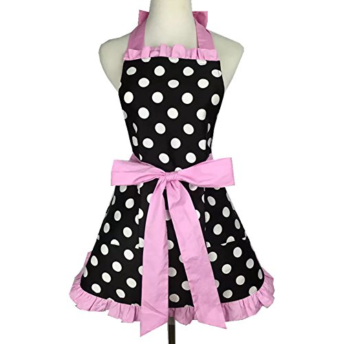 (Aspire Kitchen Apron For Women Retro Polka Dots Cooking Aprons Cafe Working Aprons-Black pink-M)