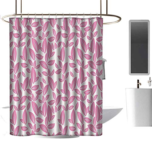 Rose Accessories Petal Cottage (homehot Shower Curtains Dragon Ball Floral,Big Pink Flower Leaves on White Background Rose Petals Spring Nature Pattern,Light Pink White,W108 x L72,Shower Curtain for Girls)
