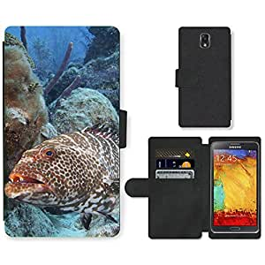 Hot Style Cell Phone Card Slot PU Leather Wallet Case // M99999270 Grouper Fish // Samsung Galaxy Note 3 III N9000 N9002 N9005