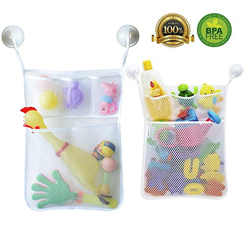 2 x Mesh Bath Toy Organizer Basket, Large Bath Tube Toy Organizer and Holder, 20 inch Quick Dry Bathroom Baby Toy Storage with Suction Cup Hooks