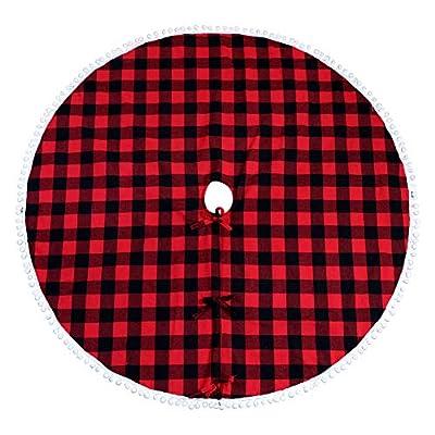 Aytai Buffalo Plaid Christmas Tree Skirt 48 Inch Red and Black Xmas Tree Skirts with Pom Pom for Christmas Decorations