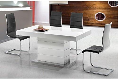 AMUEBLALO - Mesa de Comedor Extensible a 220cm lacada Blanca ...