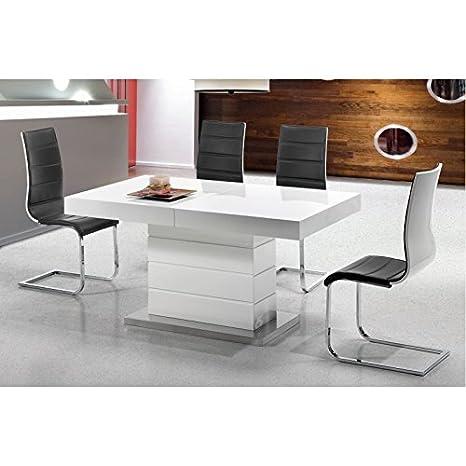 Venta Unica Mesas De Comedor.Amueblalo Mesa De Comedor Extensible A 220cm Lacada Blanca