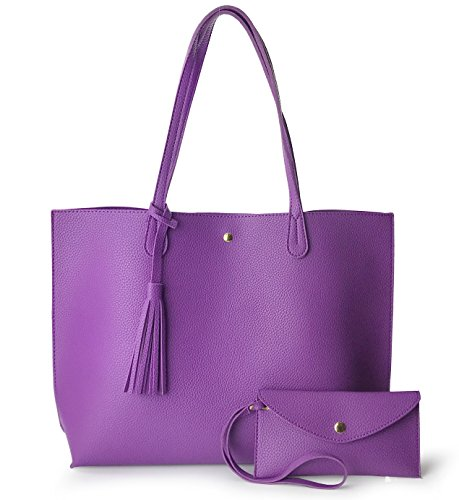 - Minimalist Clean Cut Pebbled Faux Leather Tote Womens Shoulder Handbag (Violet)