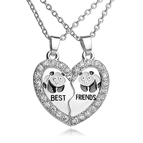 (White Rhinestone Best Friends Animal Split Heart Pendant Friendship Necklace Set of 2(Panda))