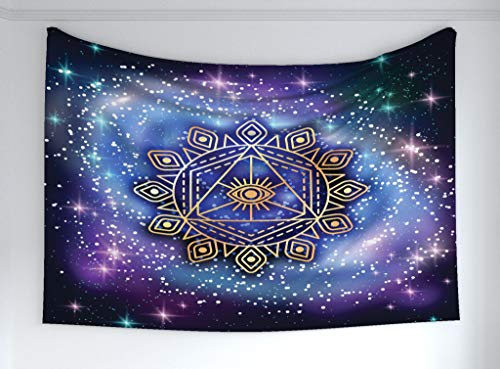 Ambesonne Sacred Geometry Tapestry, Celestial Terrestrial Harmony Cosmos Mandala Form on Nebula Art, Fabric Wall Hanging Decor Bedroom Living Room Dorm, 60 W X 40 L Inches, Multicolor