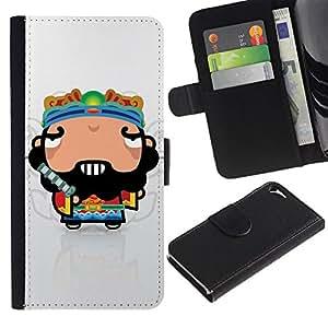 Billetera de Cuero Caso Titular de la tarjeta Carcasa Funda para Apple Iphone 5 / 5S / Funny Cool Awesome Guy / STRONG