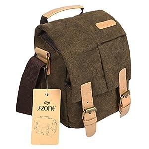 S-ZONE Vintage Waterproof Canvas Leather Trim DSLR SLR Shockproof Camera Shoulder Messenger Bag¡