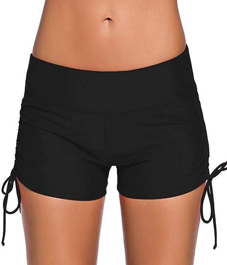 216c9252eeb Imilan Women s Sport Swim Shorts Bikini Bottom Tie Side Swimsuits Boyshorts  ((US 2-