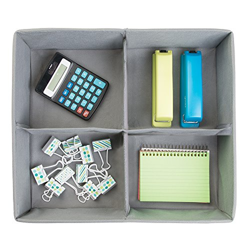 mDesign Fabric Desk Drawer Storage Organizer for Office Supplies, Notepads, Printer Ink, Calculators, Staplers - 4 Compartments, Large, Gray Photo #2