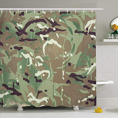 Ahawoso Shower Curtain 72x78 Inches Military Navy Multi Multicam Camouflage Abstract Pattern Desert Brown Terrain Army British Camo Close Waterproof Polyester Fabric Bathroom Curtains Set with Hooks