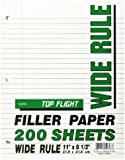 Top Flight Filler Paper, 8.5 x 11 Inches, Wide Rule, 200 Sheets (12803)