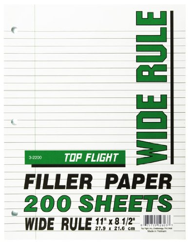 Top Flight Filler Paper, 8.5 x 11 Inches, Wide Rule, 200 Sheets -
