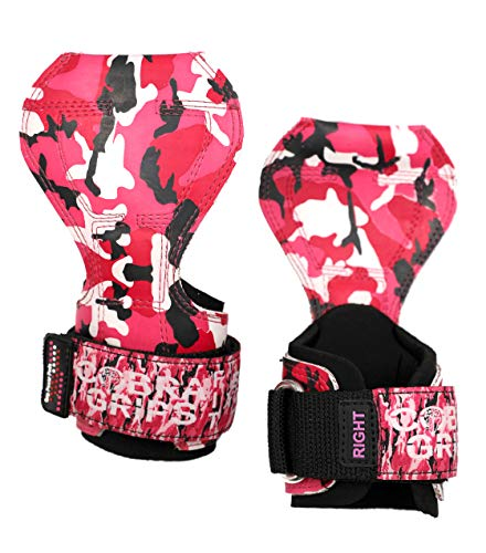 Cobra Grips PRO Weight Lifting Gloves Heavy Duty Straps Alternative Power Lifting Hooks Best for Deadlifts Adjustable Neoprene Padded Wrist Wraps Support Bodybuilding (FIT Pink CAMO ()
