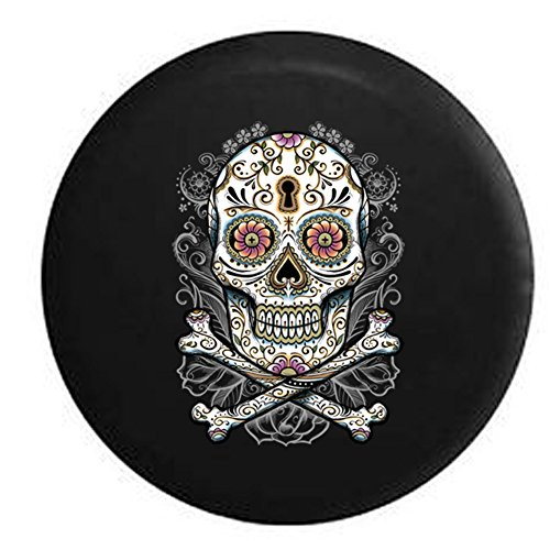 - Floral Sugar Skull Vintage Smiling Flowers Spare Tire Cover Black 35 in