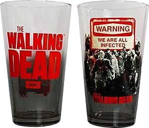 AMC The Walking Dead Warning 2pk Zombie Pint Glasses