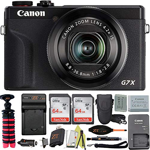 Canon Powershot G7 X Mark III Digital Camera with Wi-Fi & NFC, LCD Screen and 4K Video + Sandisk Memory + Card ZeeTech Professional Accessory Bundle (Black)(Professional Bundle)