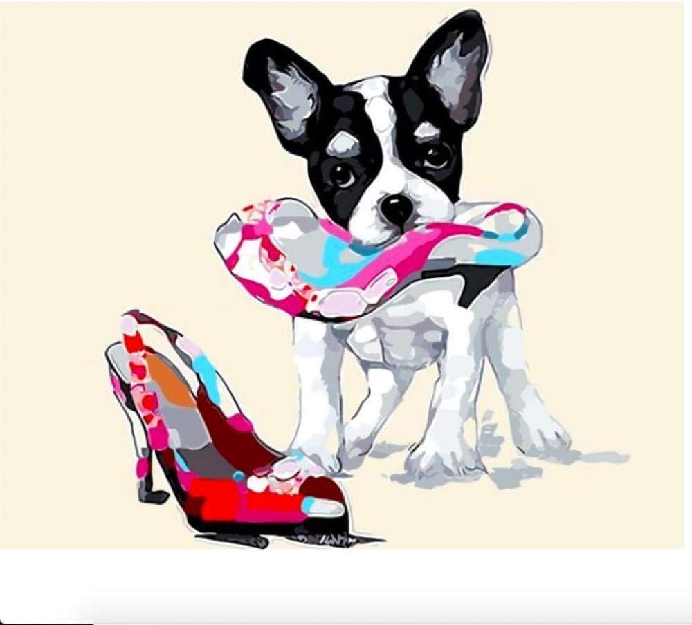 BWHome Cuadro de pintura al óleo por números Módulo Cuadro para colorear a mano Regalo único Decoración del hogar Chihuahua con su zapato Marco de bricolaje50x60CM