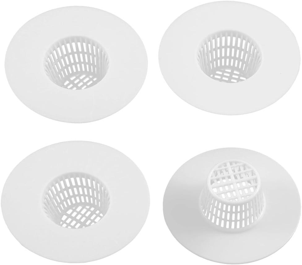 sourcing map Baño Plástico Desagüe Pelo Separador Filtro Drenaje para Fregadero Blanco 4 Unidades