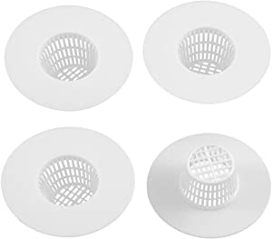 uxcell Bathroom Plastic Drain Hair Stopper Strainers Sink Drainer Filter Net White 4pcs Pack of 4