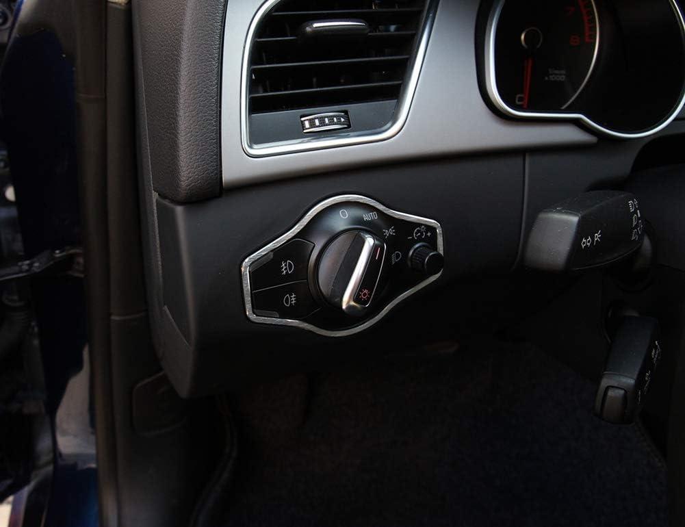 Alliage daluminium Interrupteur de Phare int/érieur Bouton Cadre Couverture Couverture 3D Autocollant de Voiture Argent pour A4 B8 S4 RS4