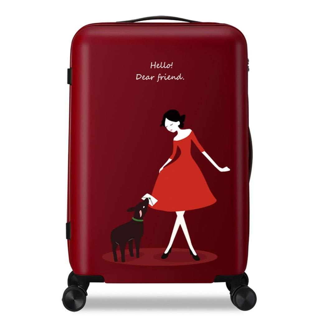 FRF トロリーケース- 人および女性のかわいい普遍的な車輪のトロリー箱、携帯用スーツケース20インチ24インチ (色 : Red B, サイズ さいず : 20in) 20in Red B B07QKTBQHB
