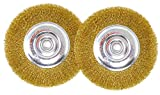 6 inch fine grinder wheel - 6 Inch Brass-Coated Wire Wheel Brush for Bench Grinder - Pack of 2 - Fine and Coarse