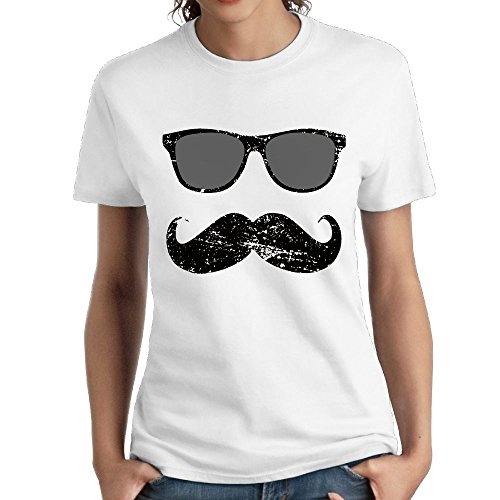 ZhiqianDF Womens Incognito Boy - Funny Mustache and Sunglasses Fashion Hiking White Shirts M Short - Randy Sunglasses Orton