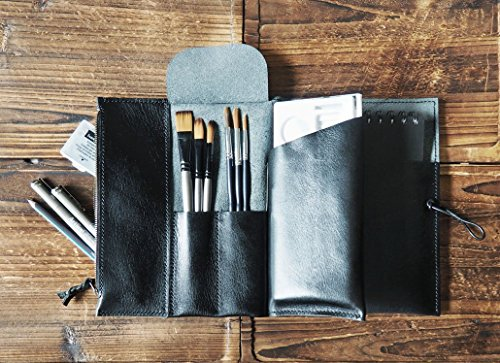 Leather Sketch Book Case - Art Supply Organizer, Pencil Case, Brush Tool Case, Custom, personalized Journal #Black from ES Corner Leather