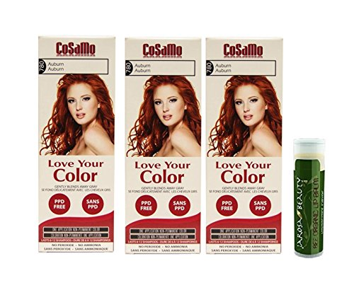 Cosamo -Love Your Color- Ammonia & Peroxide Free Hair Color #780 Auburn (Pack of 3) with One Jarosa Beauty Bee Organic Peppermint Lip Balm 100% All Natural Deep Moisturizing Usda Certified (Cosamo Hair Color compare prices)