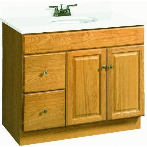 - Design House 545178 Claremont Honey Oak Vanity Cabinet with 2-Doors and 2-Drawers, 36-Inches by 18-Inches by 31.5-Inches