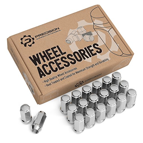 "20pc Silver Chrome Bulge Lug Nuts - 1/2""-20 Thread Size - Conical Cone Taper Acorn Seat Closed End Extended - 1.8"" Length - Uses 19mm or 3/4"" Hex Socket - for Jeep Cherokee Wrangler Liberty + More"