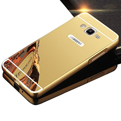 Samsung Galaxy Grand Prime Case,DAMONDY Luxury Metal Air Aluminum Bumper Detachable + Mirror Hard Back Case 2 in 1 Cover Ultra-Thin Frame Case for Samsung Galaxy Grand Prime G5308 G530H (Gold)